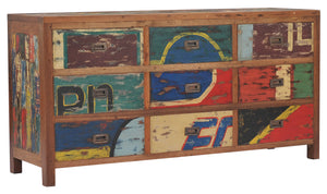 Dresser / Chest With 9 Drawers Made From Recycled Teak Wood Boats - La Place USA Furniture Outlet