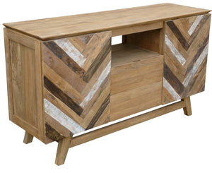 Recycled Teak Wood Brux Art Deco Dresser / Media Center, 59 Inch - La Place USA Furniture Outlet