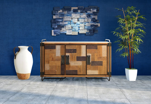 Recycled Teak Wood Mozaik Art Deco Storage Chest / TV Stand - La Place USA Furniture Outlet