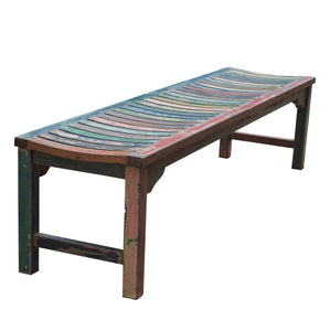 Backless Dining Bench made from Recycled Teak Wood Boats, 6 foot - La Place USA Furniture Outlet