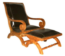 Waxed Teak And Leather Bahama Lazy Chair With Ottoman - La Place USA Furniture Outlet