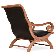 Waxed Teak Wood And Leather Bahama Lazy Chair With Ottoman