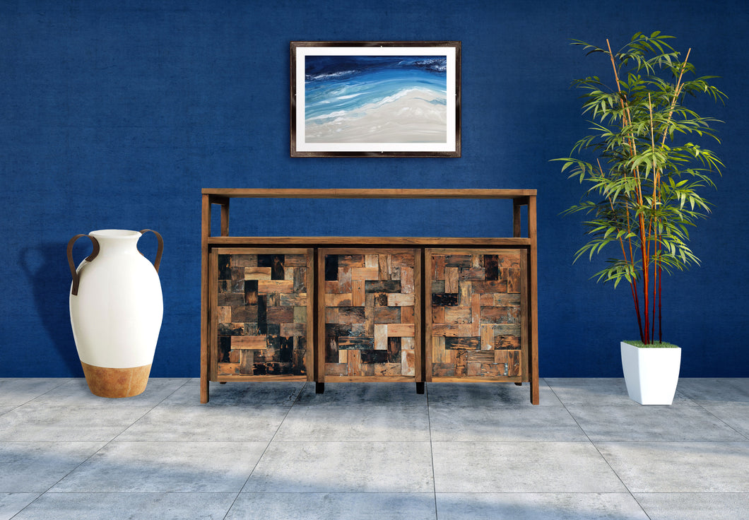 Recycled Teak Wood Mozaik Media Center / Buffet with 3 Wooden Doors - La Place USA Furniture Outlet