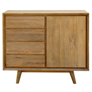 Recycled Teak Wood Retro Chest with 1 Door, 4 Drawers - La Place USA Furniture Outlet