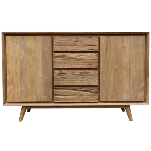 Recycled Teak Wood Retro Dresser/Media Center with 2 Doors, 4 Drawers - La Place USA Furniture Outlet