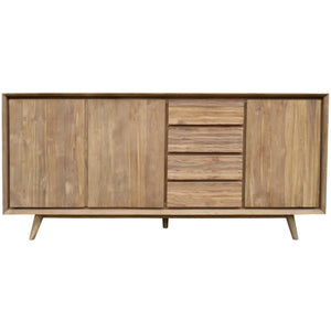 Recycled Teak Wood Retro Chest/Media Center with 3 Doors, 4 Drawers - La Place USA Furniture Outlet