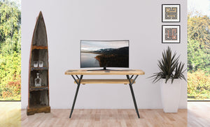 Recycled Teak Wood Art Deco Console / Serving Table - La Place USA Furniture Outlet