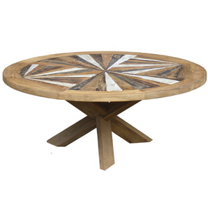 Tuscany Round Recycled Teak Wood Coffee Table, 40 inch