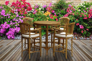 5 Piece Teak Wood Orleans Bar Table/Chair Set With Cushions - La Place USA Furniture Outlet