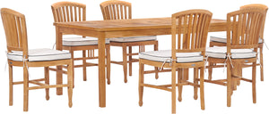 "7 Piece Teak Wood Orleans 71"" Patio Bistro Dining Set with 6 Side Chairs"