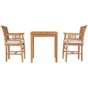 "3 Piece Teak Wood Orleans Intimate Bistro Dining Set including 27"" Square Table and 2 Arm Chairs"
