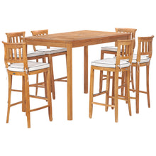 "7 Piece Teak Wood Amsterdam 63"" Rectangular Bar Set including 6 Barstools"