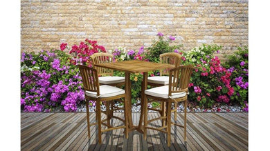 5 Piece Teak Armless Orleans Bar Table/Chair Set With Cushions - La Place USA Furniture Outlet