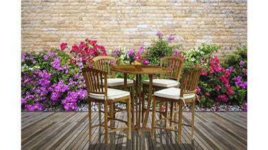 5 Piece Round Teak Armless Orleans Bar Table/Chair Set With Cushions - La Place USA Furniture Outlet