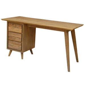 Recycled Teak Wood Retro Writing Desk with 3 Drawers - La Place USA Furniture Outlet