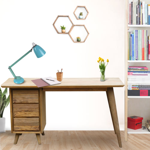 Recycled Teak Wood Retro Writing Desk with 3 Drawers