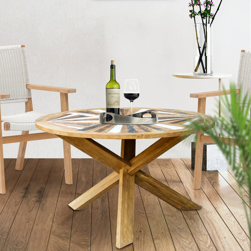 Tuscany Round Recycled Teak Wood Dining Table, 53 inch