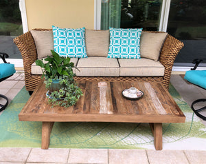 "Recycled Teak Coffee Table - 55"" x 30"" - La Place USA Furniture Outlet"
