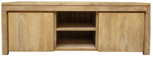 Recycled Teak Wood Solo Media Center, 2 Door - La Place USA Furniture Outlet