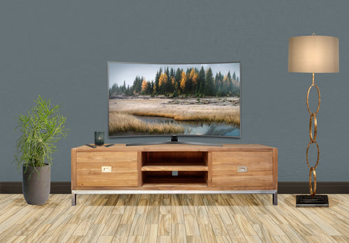 Recycled Teak Wood Stella Media Center with 2 Drawers - La Place USA Furniture Outlet