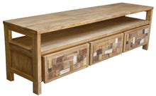 Recycled Teak Wood Mozaik Media Center, 3 Drawer - La Place USA Furniture Outlet