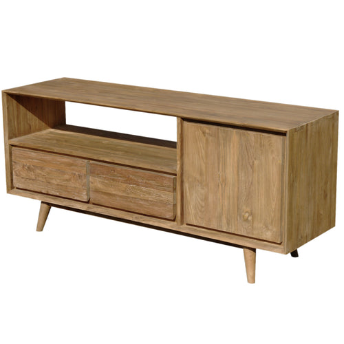 Recycled Teak Wood Retro Media Center with 1 Door, 2 Drawers - La Place USA Furniture Outlet