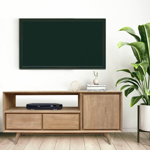 Recycled Teak Wood Retro Media Center with 1 Door, 2 Drawers