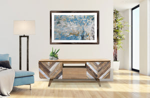 Recycled Teak Wood Brux Art Deco Dresser / Media Center, 63 Inch - La Place USA Furniture Outlet