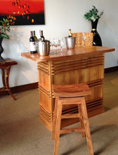 Teak Wood Vessel Barstool with Swivel Seat - La Place USA Furniture Outlet