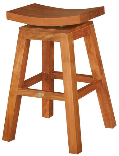 Teak Wood Vessel Counter Stool with Swivel Seat - La Place USA Furniture Outlet