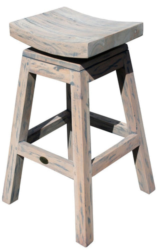 Rustic Teak Wood Vessel Barstool with Swivel Seat - La Place USA Furniture Outlet