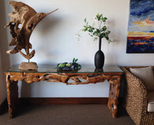 Teak Root Console Table with Glass Top, 72 Inches - La Place USA Furniture Outlet