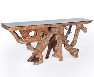Teak Wood Root Console Table with Glass Top, 72 inches - La Place USA Furniture Outlet