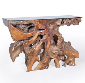 Teak Wood Root Console Table with Glass Top, 48 inches - La Place USA Furniture Outlet