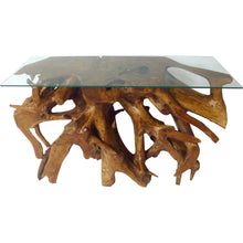 Teak Root Console Table with Glass Top, 48 inches - La Place USA Furniture Outlet