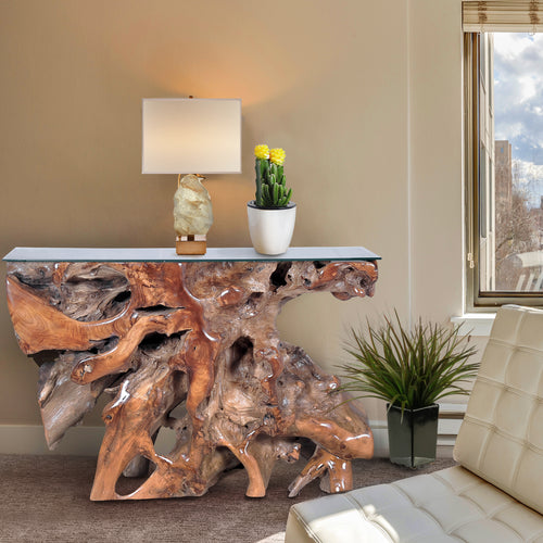 Teak Wood Root Console Table with Glass Top, 48 inches