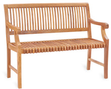 Teak Wood Castle Bench with Arms, 4 ft - La Place USA Furniture Outlet