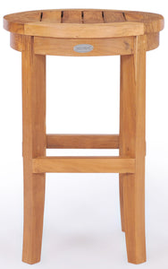 Teak Wood Santiago Round Barstool, 30 inch - La Place USA Furniture Outlet