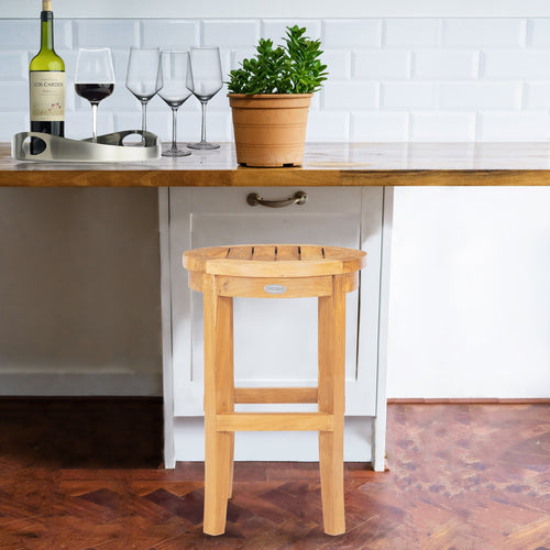Teak Wood Santiago Round Counter Stool, 24 inch