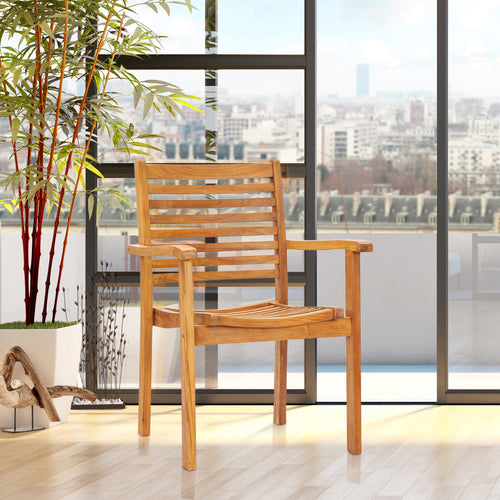 Teak Wood Italy Stacking Arm Chair