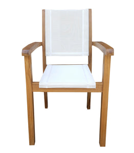 Teak Wood Las Palmas Stacking Arm Chair with Batyline Sling - La Place USA Furniture Outlet