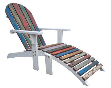 Adirondack Chair Including Footstool Made From Recycled Boats - La Place USA Furniture Outlet