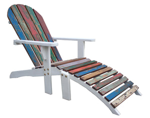 Adirondack Chair Including Footstool Made From Recycled Teak Wood Boats - La Place USA Furniture Outlet