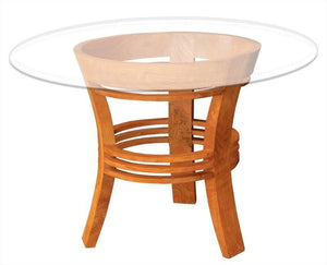 "Waxed Teak Wood Half Moon Dining Table with 47"" Round Glass Top - La Place USA Furniture Outlet"