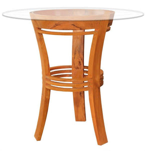 "Waxed Teak Wood Half Moon Bar Table with 36"" Round Glass Top - La Place USA Furniture Outlet"