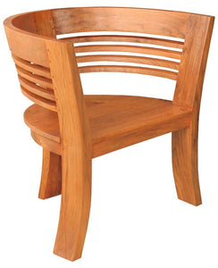 Waxed Teak Half Moon Dining Chair-Chic Teak