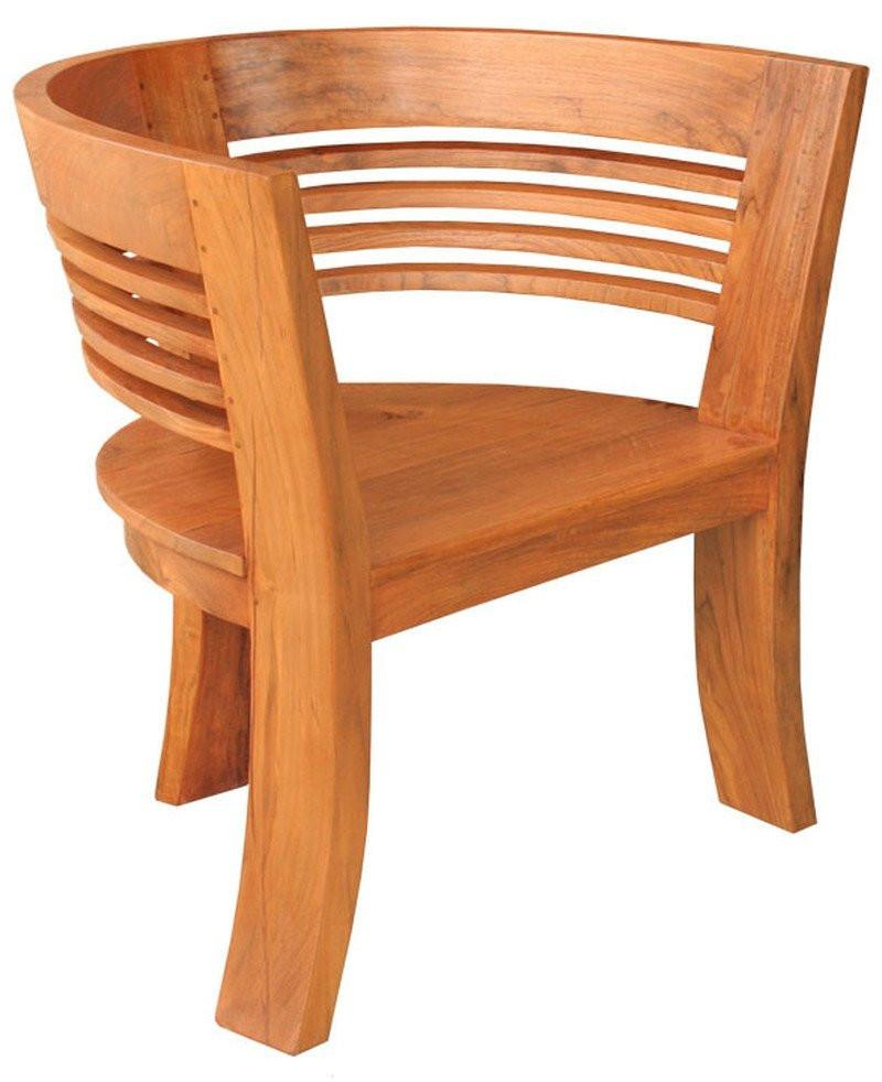 Waxed Teak Wood Half Moon Dining Chair - La Place USA Furniture Outlet