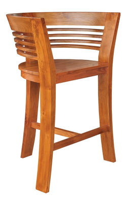 Waxed Teak Wood Half Moon Bar Stool - La Place USA Furniture Outlet
