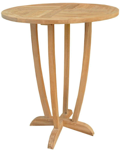 Teak Wood Miami Round Bar Table, 35 inch - La Place USA Furniture Outlet