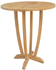 5 Piece Round Teak Wood Orleans Bar Table/Chair Set With Cushions - La Place USA Furniture Outlet
